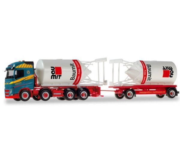 Herpa 310130 Volvo FG teherautó trélerrel, Baumit tartályokkal