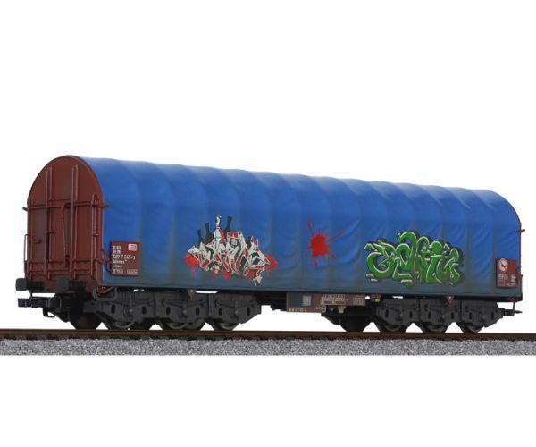Liliput 235779 Eltolható oldalfalú ponyváskocsi Sahimms, graffitivel, antikolással, DB AG V