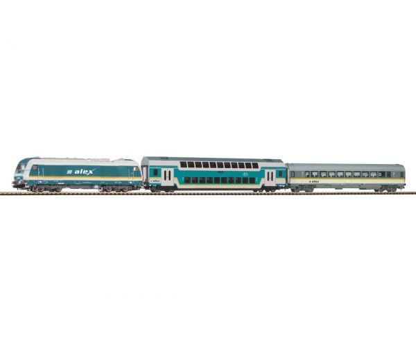 PIKO 57137 Kezdőkészlet, ER20 Herkules dízelmozdony emeletes és normál személykocsival, ALEX VI
