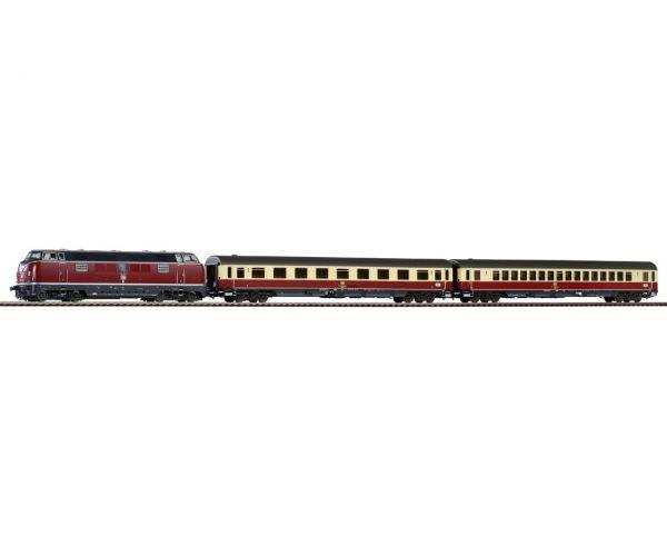 Piko 59116 PIKO SmartControl Premium Train Set BR 221 dízelmozdony TEE Merkur személykocsikkal, hangdekóderrel, DB IV
