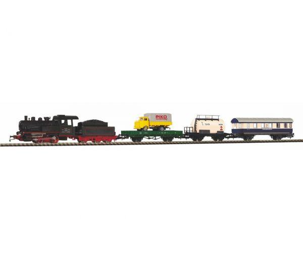 PIKO 97923 Kezdőkészlet, BR 98 gőzmozdony teher- és személykocsival, SZD III