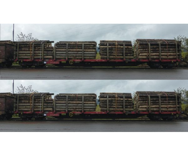Roco 76141 Farönkszállító pőrekocsi szett Rnoos-uz, farönkrakománnyal, Rail Cargo Austria, ÖBB V-VI