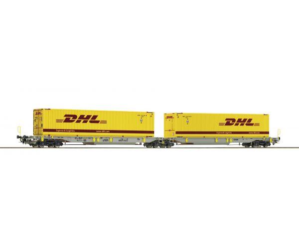 Roco 76421 Konténerszállító ikerkocsi (zsebeskocsi) Sdggmrs/T2000, DHL konténerekkel , AAE VI