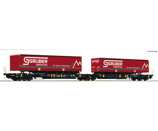 Roco 76428 Iker-zsebeskocsi Sdggmrs/T2000, Gruber Logistics félpótkocsikkal, WASCOSA VI