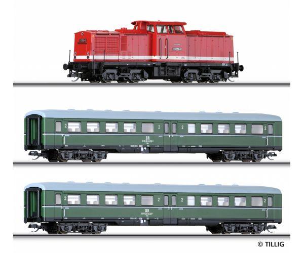 Tillig 01425 Startszett BR 110 056-9 dízelmozdony személykocsikkal DR IV