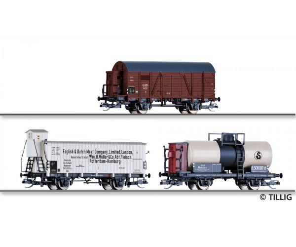 Tillig 01817 Güterwagenset der BDZ, DRG und ČSD, bestehend aus einem gedeckten Güterwagen der BDZ, einem Hűtőkocsi der DRG und einem Tartálykocsi der ČSD, Ep. II