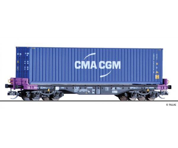 Tillig 15154 Pőrekocsi konténerrel Sgmmns 4505, CMA CGM konténerrel, ERR VI