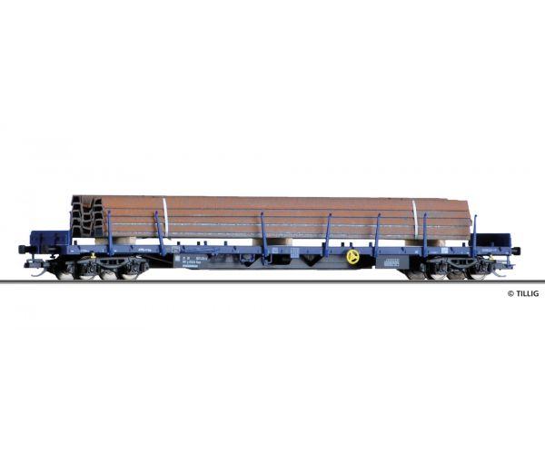 Tillig 18121 Pőrekocsi rakoncákkal Rnss, sínszál rakománnyal, CFL Cargo VI