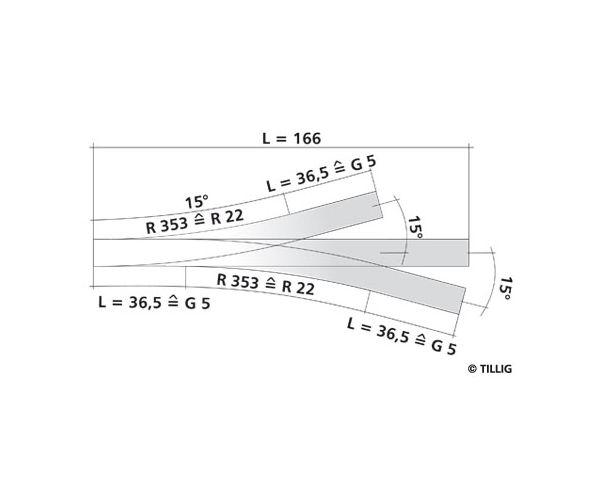Tillig 83230 Hármasváltó 2 x 15 166 mm TT