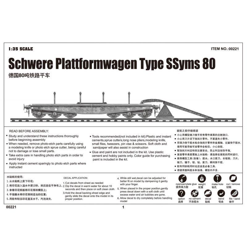 Trumpeter 750221 Schwere Plattformwagen Type SSyms 80
