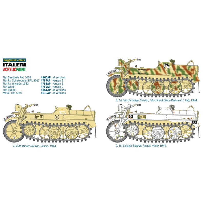7404 ITALERI Kettenkrad Sd.Kfz Féllánctalpas motor