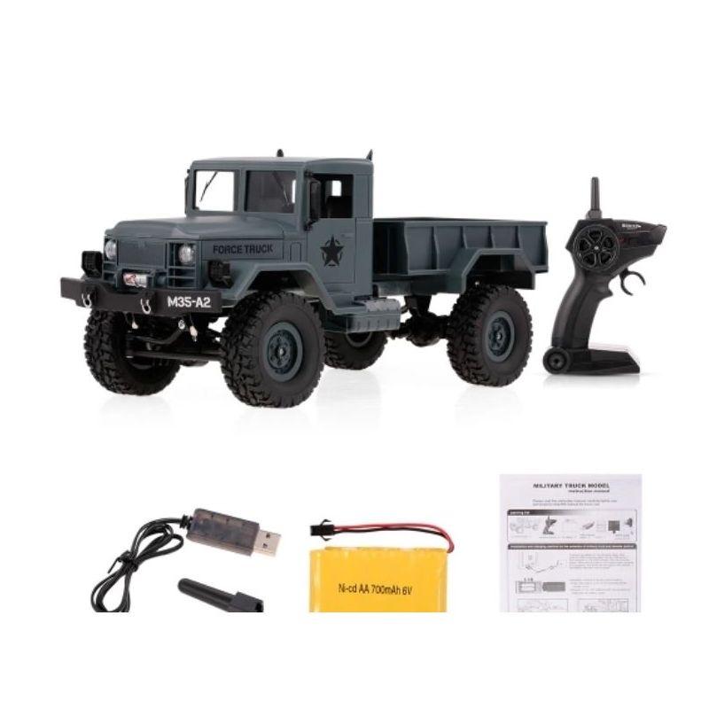 Katonai teherautó, szürke, RC, RTR 1:16