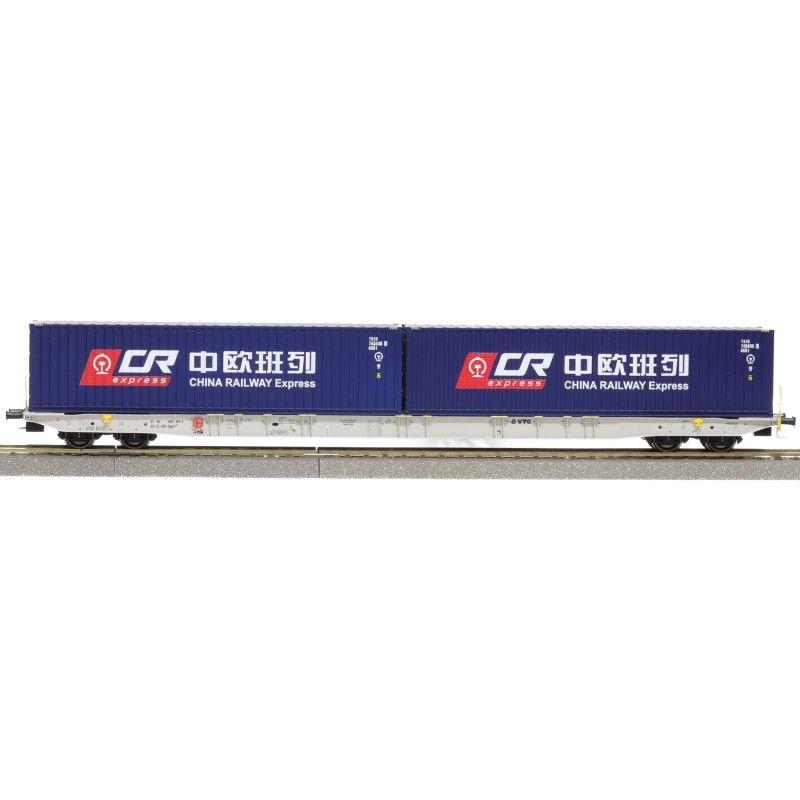IGRA 96010040 Konténerszállító kocsi Sggnss, China Railway konténerekkel, VTG VI