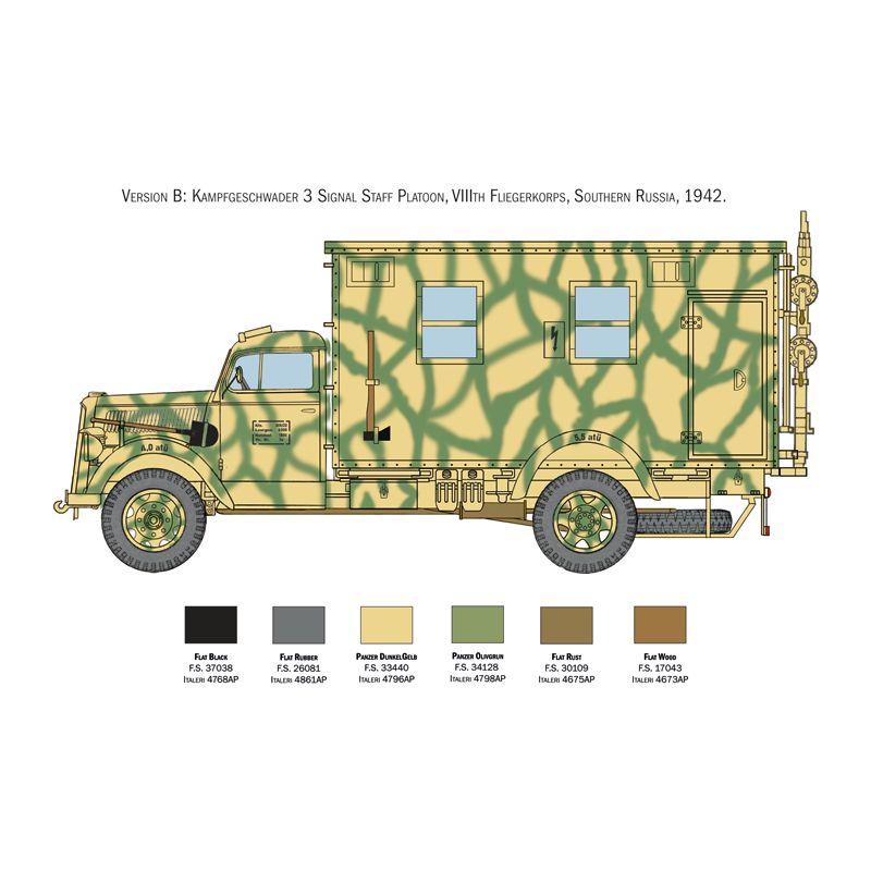 Italeri 6575s Opel Blitz radio truck, harcijármű makett