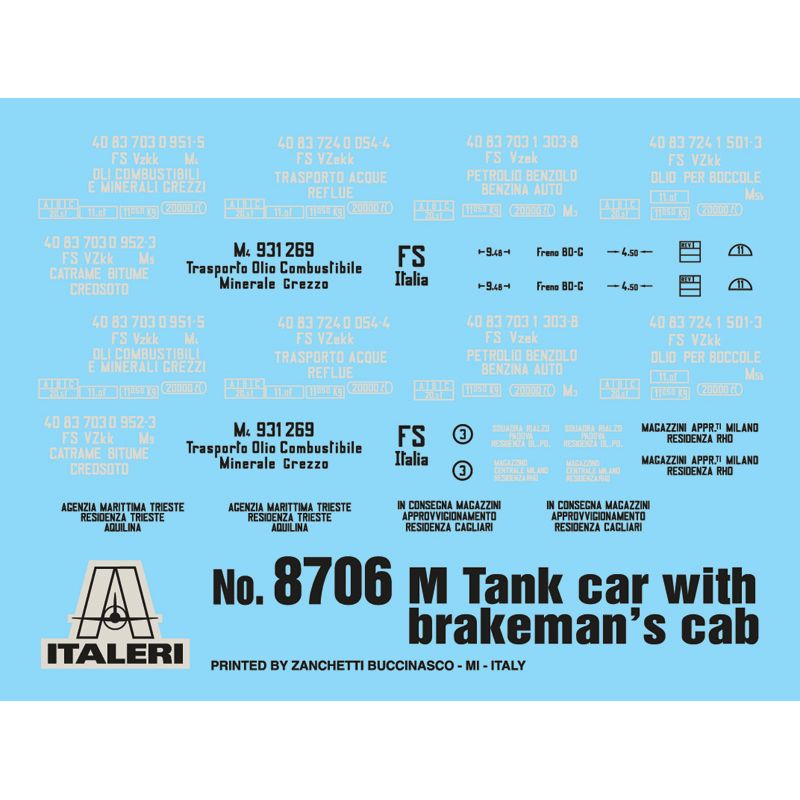 Italeri 8706 tartálykocsi makett fékházzal