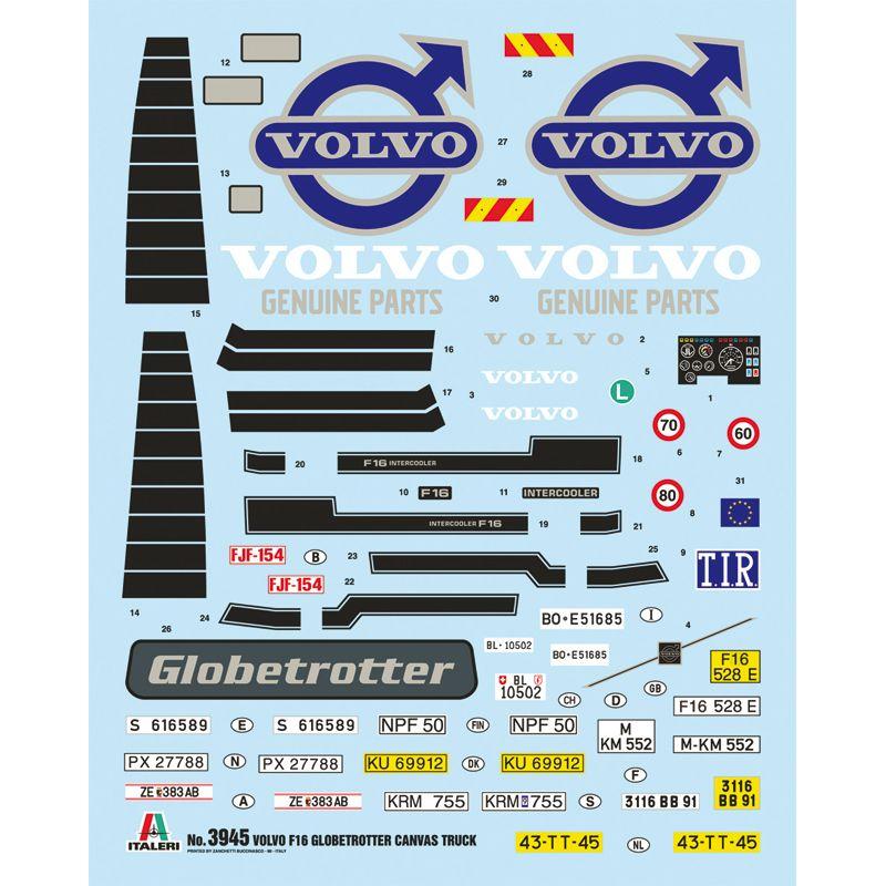ITALERI 3945 Volvo F16, Globetrotter ponyvás teherautó