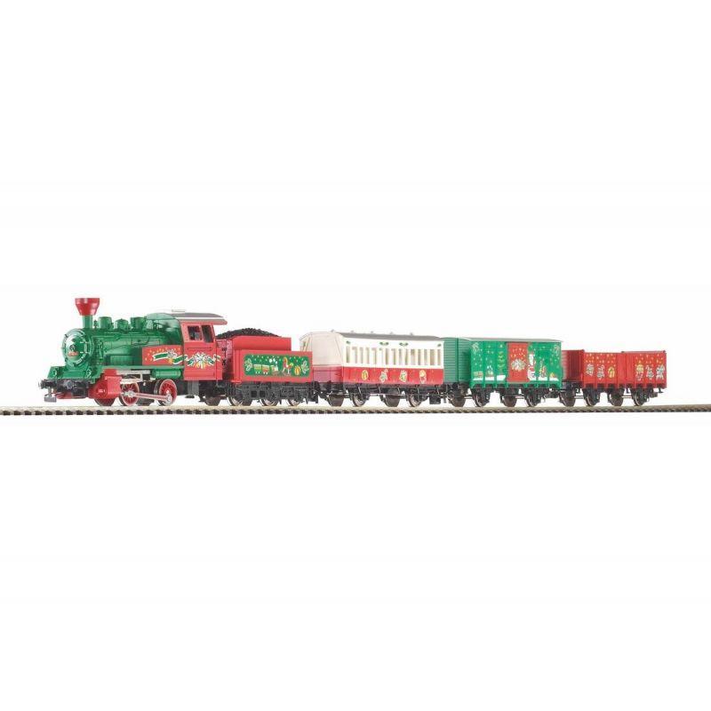PIKO 57081 Kezdőkészlet, Karácsonyi gőzös személy- és tehervagonokkal, ágyazatos sínnel