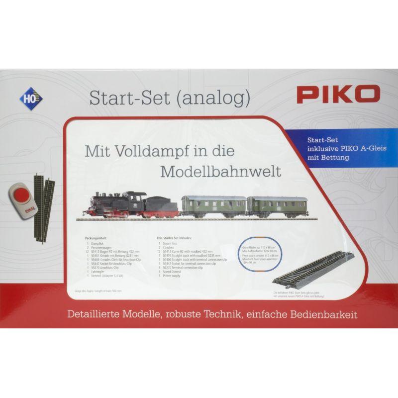 PIKO 57112 Kezdőkészlet, BR 98 szerkocsis gőzmozdony személykocsikkal, ágyazatos sínnel