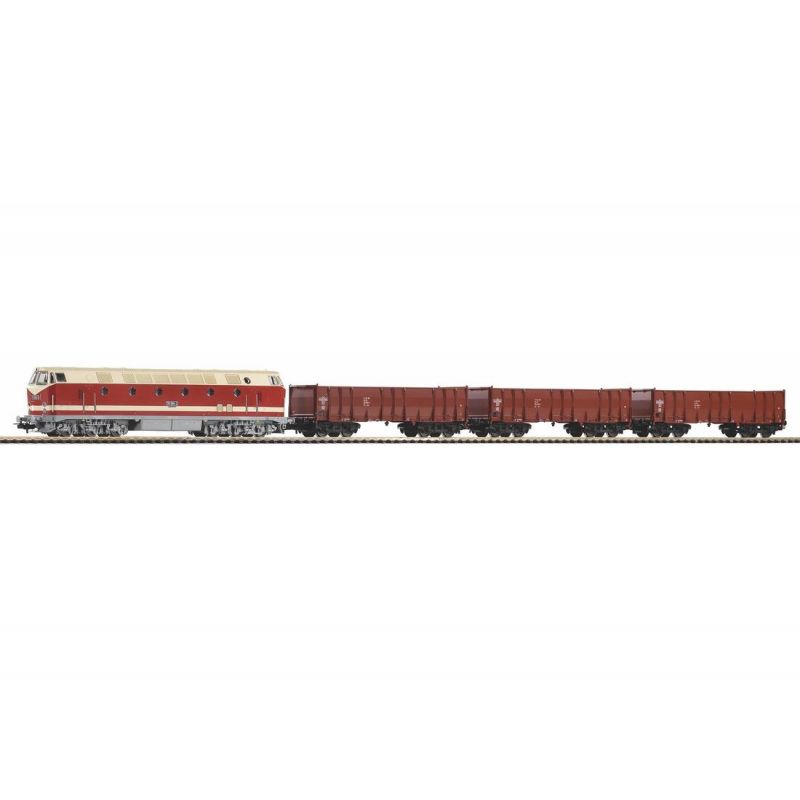 PIKO 57138 Kezdőkészlet, BR 119 dízelmozdony nyitott tehervagonokkal, DR IV, ágyazatos sínnel