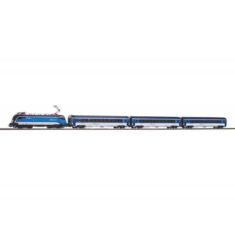 Piko 57179 Kezdőkészlet Railjet Taurus villanymozdony személykocsikkal, ágyazatos sínnel, CD VI