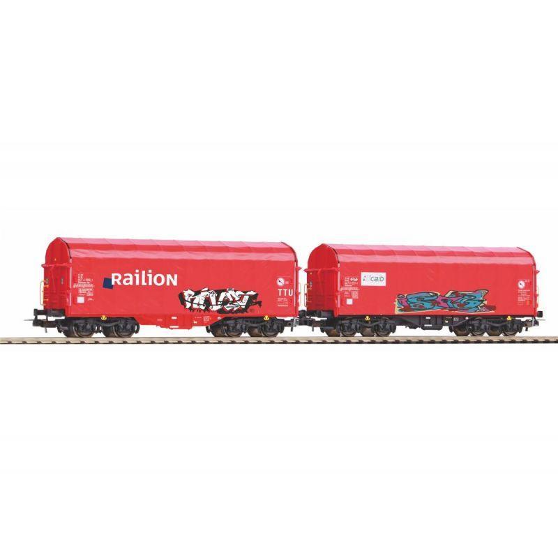 PIKO 58378 2db ponyvástetejű kocsi Caib und Railion NS mit Graffiti V