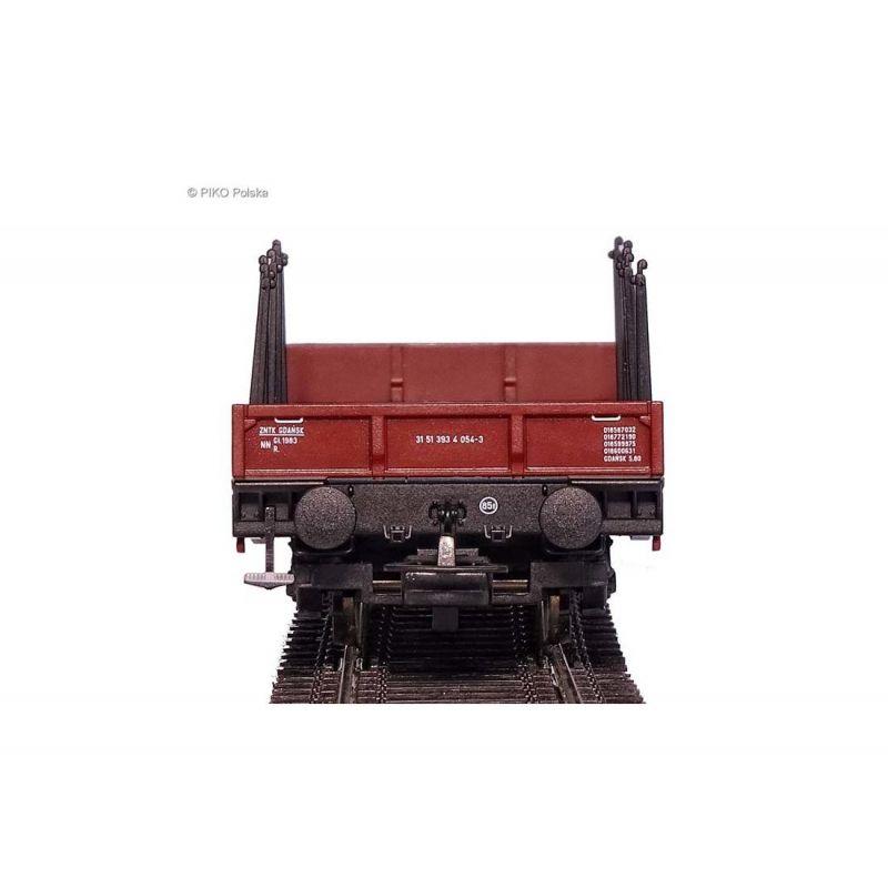Piko 58414 Nehézteherszállító pőrekocsi rakoncákkal Rpps, 401Z PKP IV