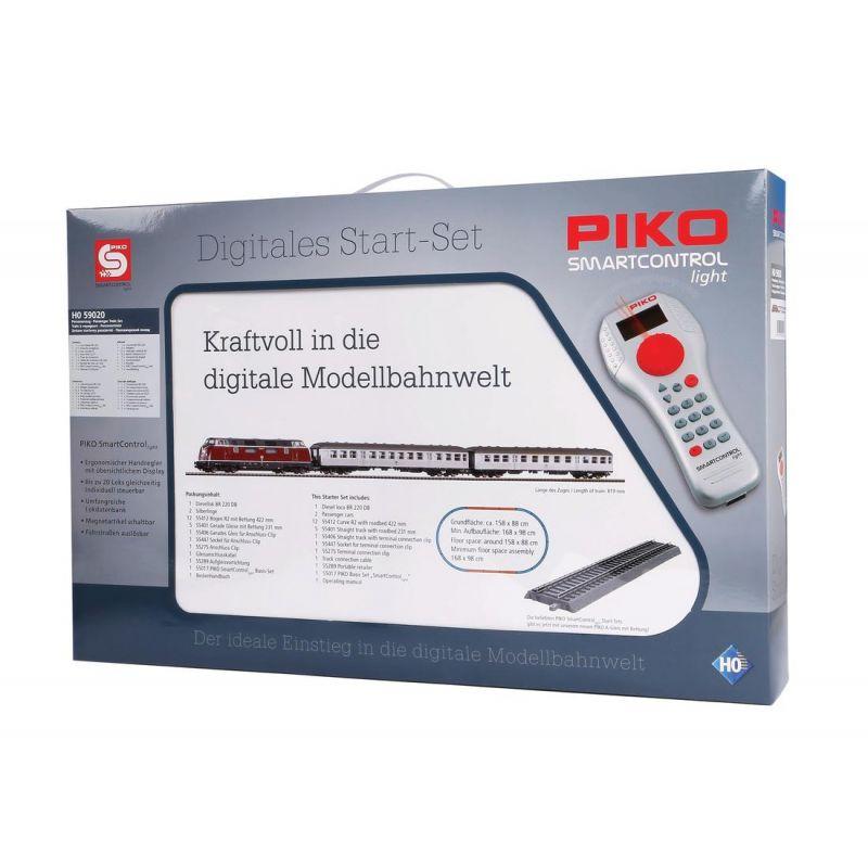 PIKO 59020 SmartControl light digitális kezdőkészlet, BR 220 dízelmozdony személykocsikkal, ágyazatos sínnel, DB IV
