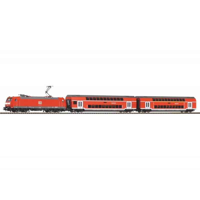 PIKO 59023 SmartControl light digitális kezdőkészlet, BR 146 villanymozdony emeletes személykocsikkal, ágyzatos sínnel, DB AG VI