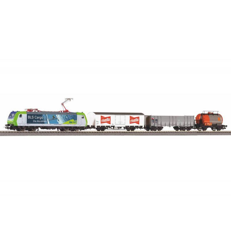 PIKO 59028 SmartControl light digitális kezdőkészlet, Re 485 TRAXX villanymozdony tehervagonokkal, ágyazatos sínnel