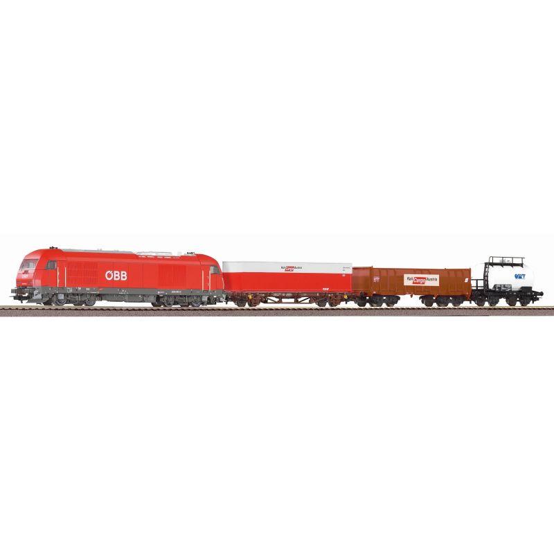 Piko 97948 Kezdőkészlet, Herkules dízelmozdony teherkocsikkal, ágyazatos sínnel, ÖBB V