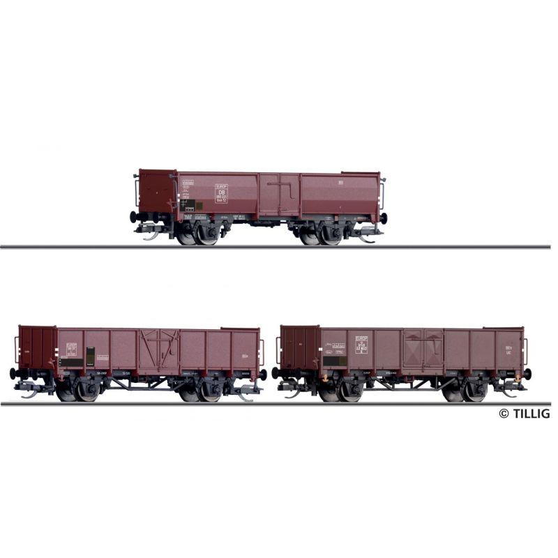Tillig 01036 Nyitott teherkocsi készlet Omm 54 EUROP, kőszénrakománnyal, DB/SBB/DSB III