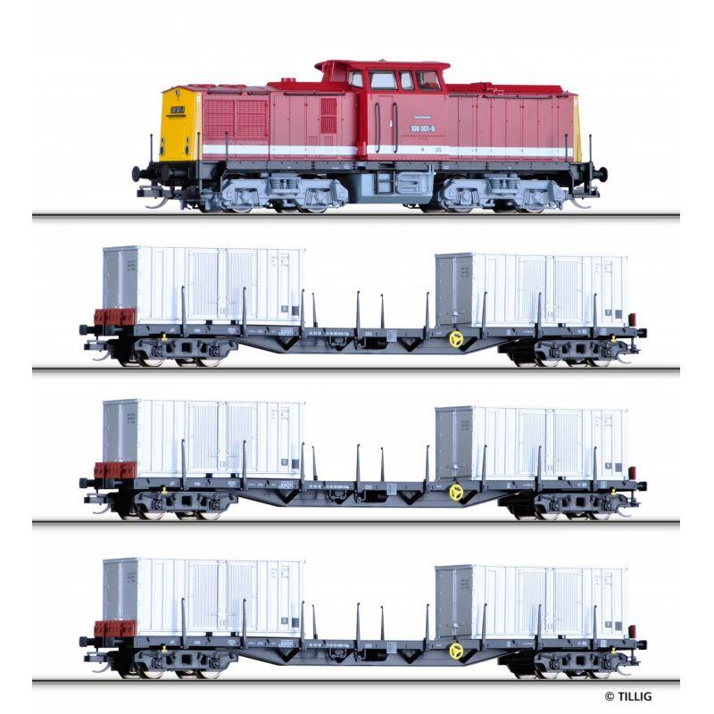 Tillig 01439 Startszett BR 108 001-9 dízelmozdony Rgs 910 konténerszálítókkal DR IV